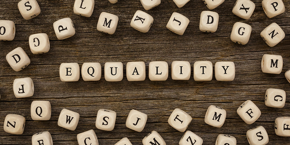 Block letters that read EQUALITY