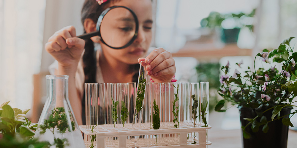 Female student exploring botany, STEM role model
